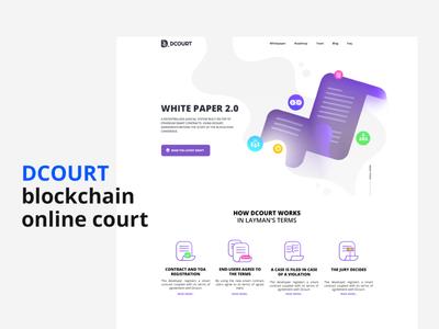 DCOURT - Blockchain online court user interface landing page ui landingpage court business blockchain