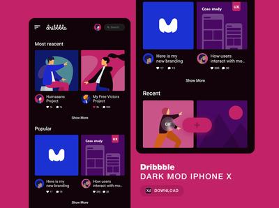 dribbble dark mod - iphone x size - Download free dark app app design apple ui flat design illustration asset dark mode dribbble app free download kit