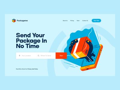 packageme UI design type minimal illustrator website ui web illustration design flat delivery packagedesign