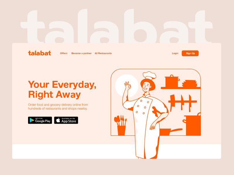 talabat landing page - unofficial ux minimal illustrator website app web illustration ui design flat