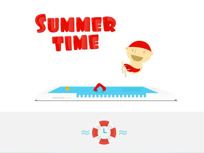 Summer time schedule illustration newsletter duck timetable water pool mobile summer