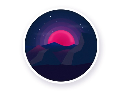 Red moon stars lights moon night black violet pink colors vector illustration illustrator art vector illustration design graphic design