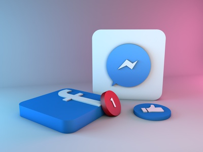 Messenger and Facebook 3D icons cinema 4d icon blue logo lights colors branding 3d art 3d 3d design design graphic design