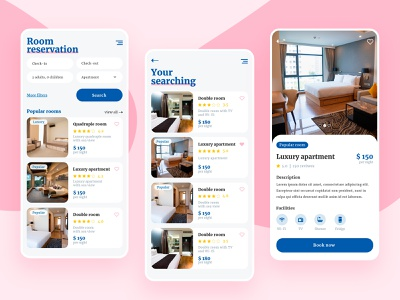 Hotel rooms mobile app hobby mobile application application app design mobile design room booking hotel booking hotel app mobile app design mobile app mobile ui ui ux design graphic design