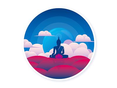 Buddha violet pink clouds religion flower lotus flower namaste buddha blue design graphic design vector