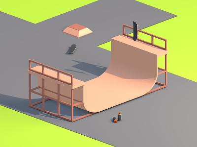Skateboarding park skate colors green hobby cinema 4d 3d design graphic design design