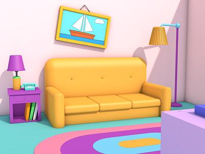 The Simpsons beginning. 3d art hobby 3d art 3d artist colors design 3d design cinema 4d graphic design