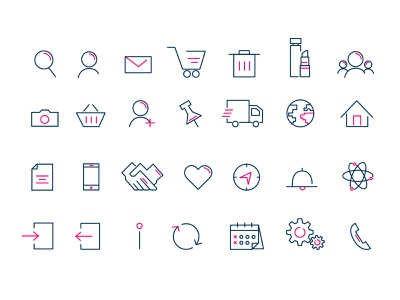 Vector icons illustration logo icon design blue pink icons branding vector colors graphic design design