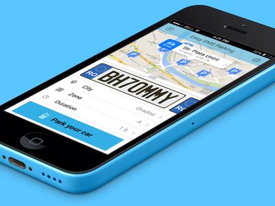 Easy Sms Parking App [wip] app ios iphone native app parking 5c perspective mockup flat ios7 blue simple