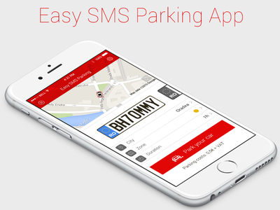 Easy Sms Parking App Concept minimal ios flat sms parking iphone app iphone 6 app design red