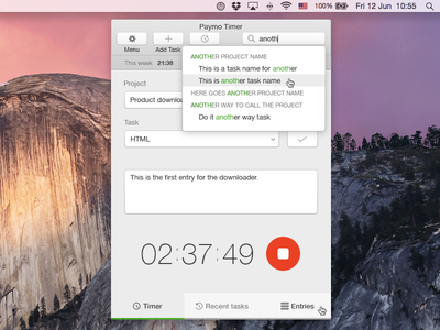Time Tracking Widget for Mac