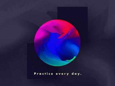 Daily Digital Practice geometric practice orb noise bright colors vivid
