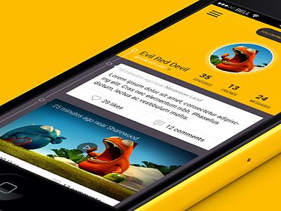 Social Media App Concept - Throwback profile page timeline social media design mobile flat iphone ios app ui
