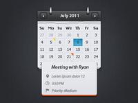 Calendar with event preview [psd freebie]