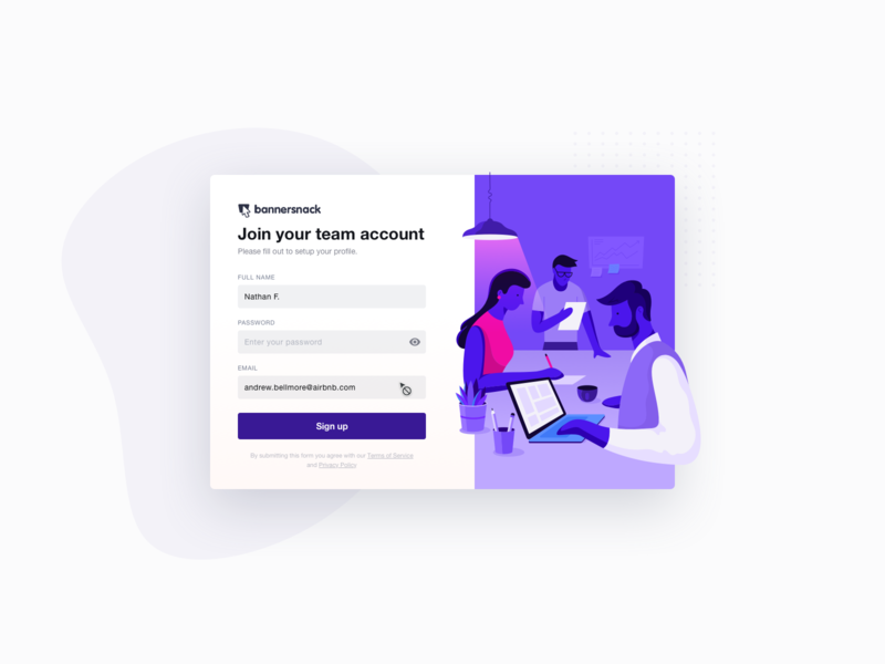 Dribbble Team Invite Account Setup button webdesign app colorful art illustration ux ui field guide form field email form minimal color modern flow signup