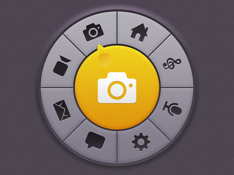 Circular Menu Thingy circular menu ios app console home screen start screen selector texture dark yellow knob ui mobile