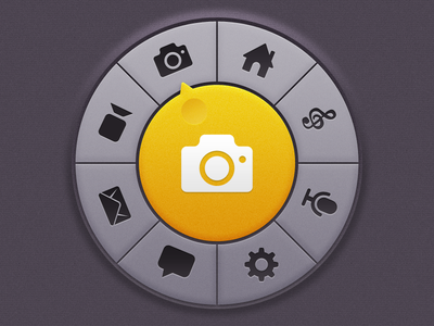 Circular Menu Thingy circular menu ios app console home screen start screen selector texture dark yellow knob ui mobile