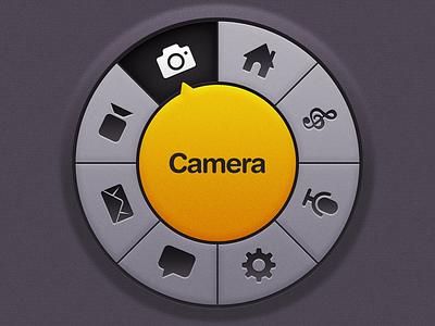 Circular Menu Thingy Comeback circular menu ios app console home screen start screen selector texture dark yellow knob ui mobile glyph icon navigation
