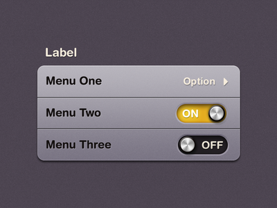 iOS Table view ios mobile iphone ui texture switch option noise