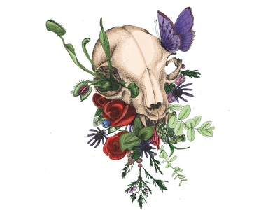 7 Lives Plus One cat skull flora pointilism illustration line