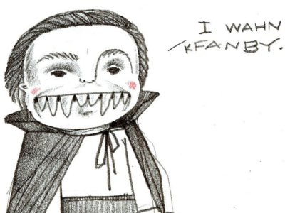 trick-or-treat! drawing pencil colored pencil illustration child boy vampire dracula cute