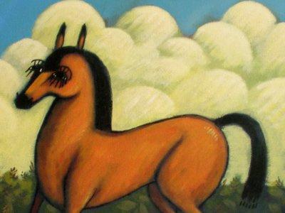 Horse painting painting animal horse acrylic folk