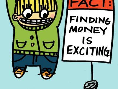 Finding Money Cartoon illustration boy child kid money cute lol coin quarter