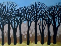 Spring Trees acrylic painting