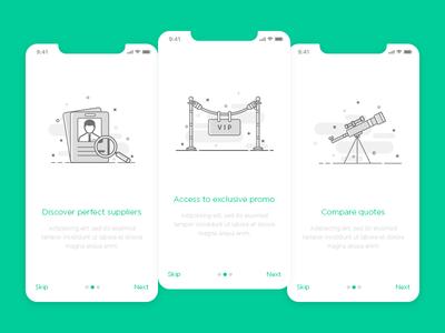 Onboarding icon illustrations for MyShaadi application