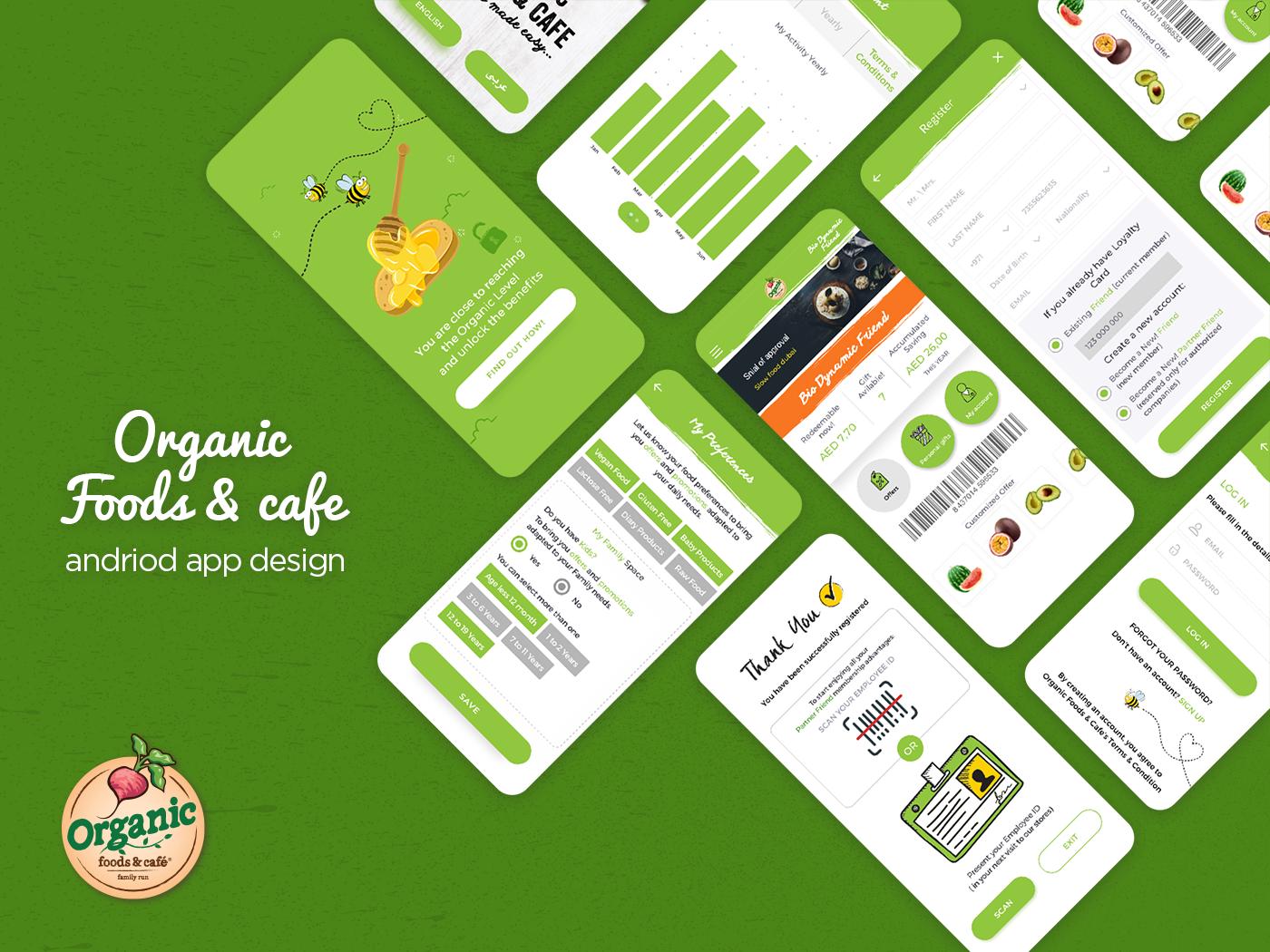Organic foods & cafe android app design web illustration cafe app food app application ui minimal uiux app design android app design organic foods  cafe