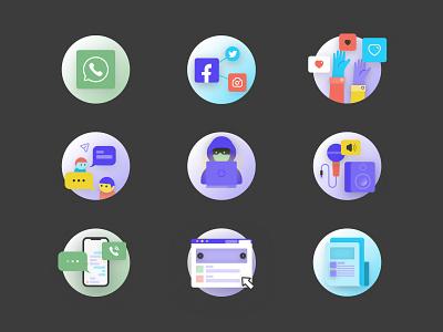 CyberSim icons digital cybersecurity illustration identity branding iconography icon set icon icons