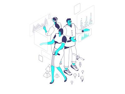 """""""We dazzle you"""" illustration isometric world tiny world virtual reality augmented reality axonometry axonometric illustration vector axonometric isometric illustration isometric illustration"""