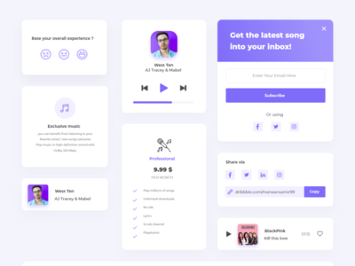 Music App Component musician ui ux flatdesign clean app xd ui kit components music music app flat clear