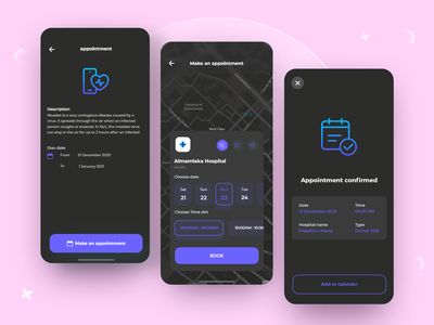 Doctor Appointment Booking App ios interaction application clear dark theme dark mode dark ui medical appointment booking appointment doctor ux ui design book
