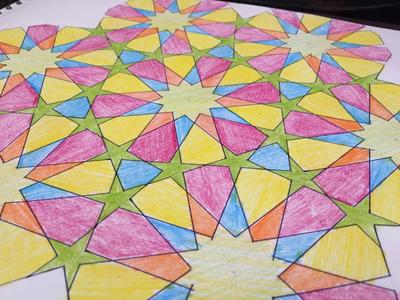 Geometric Islamic pattern 12 fold drawing illustration artwork pattern islamic geometric