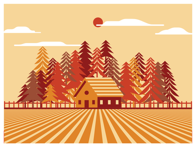 Farm House farm house warm colors vector design illustration poster farm