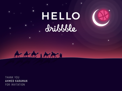 Hello Dribbble moon camel landscape sahara inkscape shot first dribbble hello
