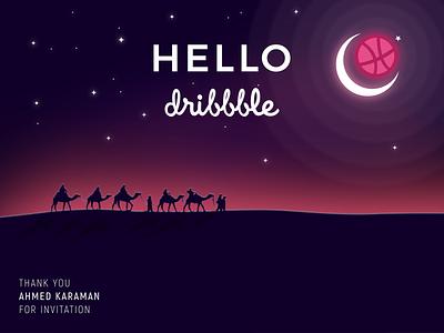 Hello Dribbble moon camel landscape sahara inkscape shot first dribbble hello