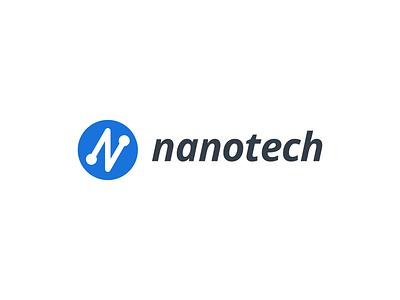 nanotech logo design brand identity technology tech geometric grids vector design branding logo software company company automation