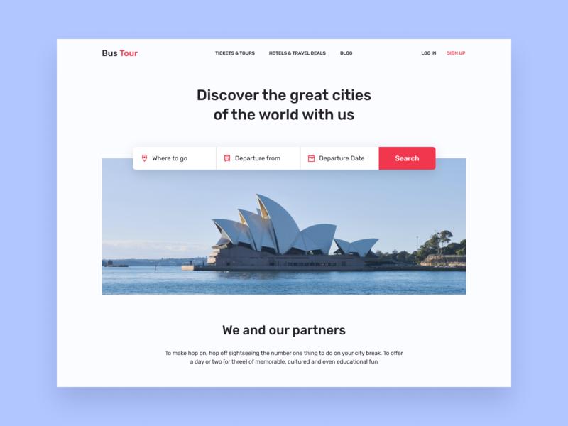 Bus Tour concept simple minimal user interface interface design interface ui concept site web design website