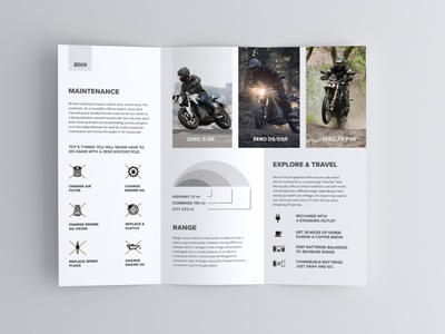 Zero Print simple minimalism minimal clean corporate branding corporate design corporate flyer print layout brochure layout brochure design brochure print motorcycle electric