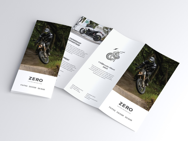 Zero Print Cover motorbike moto electric electric motorcycle whitespace minimal simple clean corporate identity corporate design corporate flyer corporate brochure layout brochure print