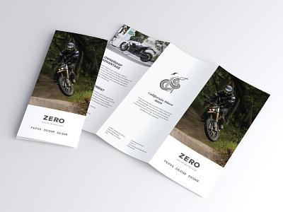 Zero Print Cover motorbike moto electric electric motorcycle whitespace minimal simple clean corporate identity corporate design corporate flyer corporate brochure layout brochure print