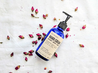 Eve Hand Cream rose creamy darkblue blue reduced recycled organic natural label tag cream lotion cosmetic packaging branding typography