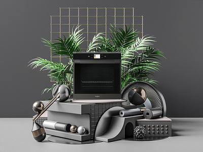 Whirlpool Black Fiber Artwork visualization oven kitchen digital art render photorealism octane hanneshummel cinema4d 3d artist 3d