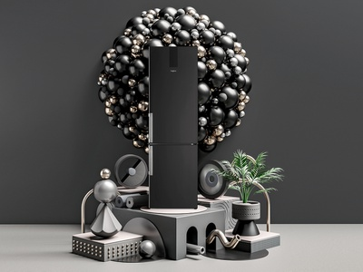 Whirlpool Black Fiber Artwork 03 kitchen render digital art photorealism octane hanneshummel cinema4d 3d artist 3d