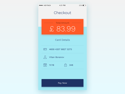 Daily UI - Day 2: Credit Card Checkout ios iphone card credit checkout dailyui