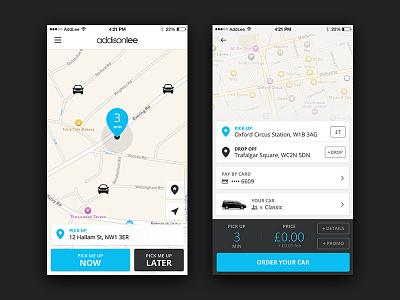 Addison Lee - iPhone App ui taxi cab mobile app app ui design iphone addison lee