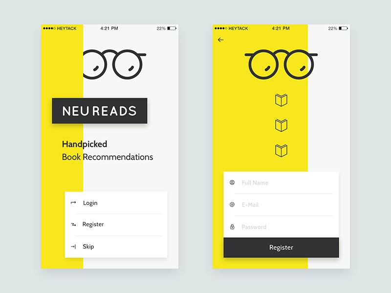 NeuReads App ui register form landing ios app book iphone