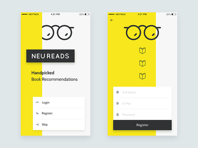 NeuReads App ui register form landing ios app book iphone